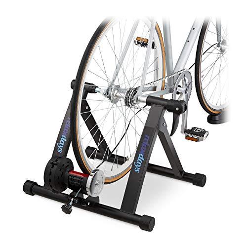 Relaxdays Rollentrainer Fahrrad, Radtrainer für 26-28 Zoll Reifen, bis 150 kg, klappbar, Indoor, Magnetbremse, schwarz