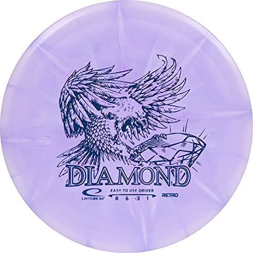 Latitude 64 Retro Burst Diamond Disc Golf Driver | Beginner and Kid Friendly Frisbee Golf Disc | 160g and Under | Burst Pattern and Stamp Color May Vary (Purple)