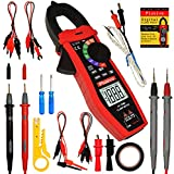 Digital Clamp Meter, Multimeter, Non Contact Voltage Tester, Auto-ranging, Measures Current Voltage Temperature Capacitance Resistance Diodes Continuity Duty-Cycle (AC Clamp Meter)