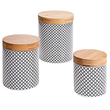 Certified International 3 Piece Chelsea Red Floral Lattice Canister Set with Bamboo Lids, Multicolor