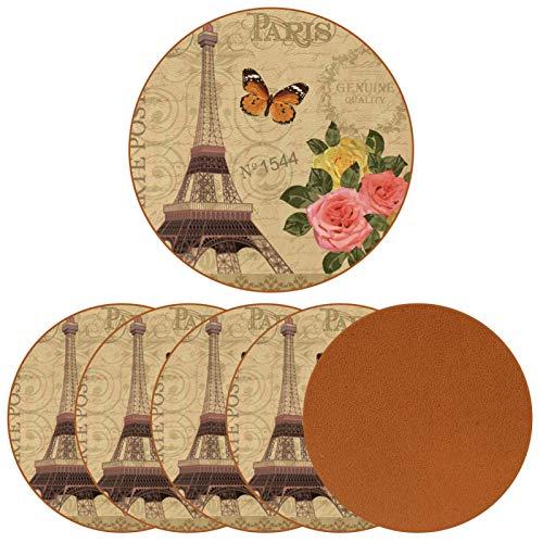 Juego de 6 posavasos vintage de la Torre Eiffel de París con diseño de mariposas para bebidas, juego de tazas redondas de cuero, para proteger muebles, resistente al calor, decoración de bar de cocina