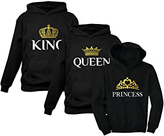 King Queen Princess Family Matching Hoodies Husband Wife & Girl Valentines Day