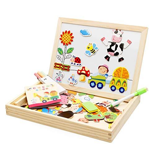 WFF Spielzeug Kinder Lernen Magnetic Doppelseitige Zeichenbrett Spielzeug Staffelei Multifunktionale Baby Puzzle Schreiben, Zeichnen, Tafel Spielzeug (Color : Happy Farm)