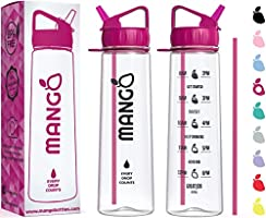 Mango Water Bottle With Straw - 900ml Motivational Time Markings - BPA Free Sports Bottles With Flip Nozzle And...