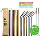 AllEco Edelstahl Strohhalm bunt wiederverwendbar 16er Set Pick & Mix + 2 Reinigungsbürsten + Eco-Beutel, freie Farbwahl - Rosegold, Gold, schwarz, blau, lila, Regenbogen (Pick & Mix, 6mm Durchmesser)