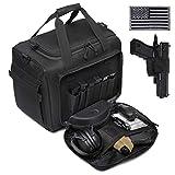 DBTAC Gun Range Bag Large | Tactical Pistol Shooting Range Duffle Bag for 4+ Handguns Range Trip - 2 in 1 Camera Duffel Bag with 2X Removable Velcro Divider for DSLR (Black)