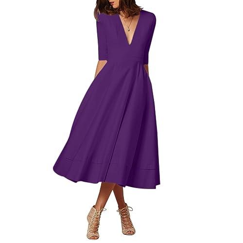 254f4b928f43 YMING Women s Cocktail Dress Elegant Deep V Neck High Waist Vintage Midi Swing  Dress