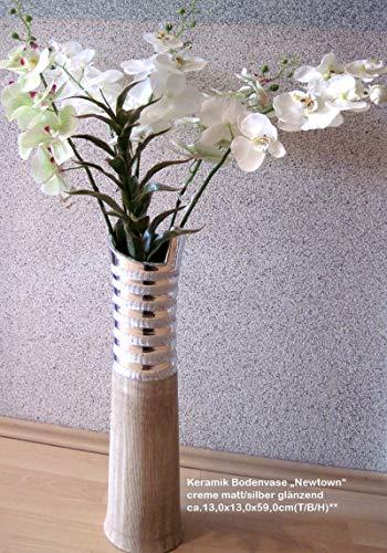 GILDE Bodenvase Newtown Creme matt, Silber glänzend L=13,0 cm B= 13,0 cm H= 59,0 cm 43910
