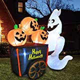 Joiedomi Halloween 6 FT Inflatable Ghost Pushing Pumpkin Cart with Build-in LEDs Blow Up Inflatables for Halloween Party Indoor, Outdoor, Yard, Garden, Lawn Decorations