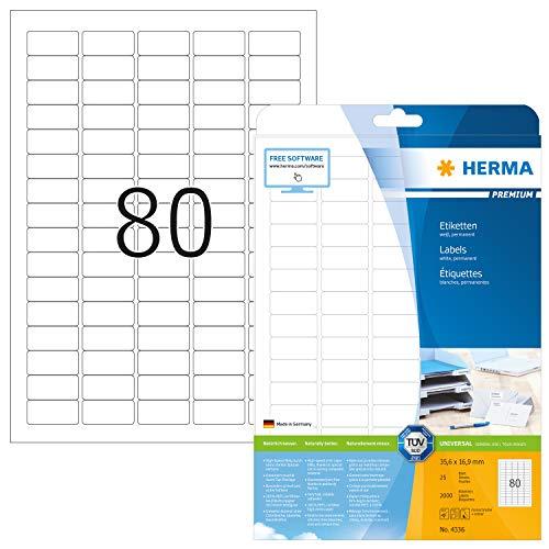 HERMA 4336 Universal Etiketten DIN A4 klein (35,6 x 16,9 mm, 25 Blatt, Papier, matt) selbstklebend, bedruckbar, permanent haftende Adressaufkleber, 2.000 Klebeetiketten, weiß