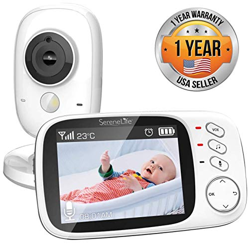 """Video Baby Monitor Long Range  Upgraded 850' Wireless Range,  Night Vision, Temperature Monitoring and Portable 2"""" Color Screen  Serenelife USA SLBCAM20"""