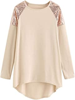 aihihe Plus Size Pullover Sweater for Women Lightweight Color Block Sequin Glitter Sweatshirts Shirt Tops