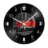 FDGFDG Reloj de Pared de Registro de Vinilo de Tren Rojo Números Digitales Sala de Estar silenciosa Reloj de Registro de Vinatge Decorativo Relojes Colgantes Circulares