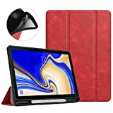 MoKo Case for Samsung Galaxy Tab S4 10.5 with S Pen Holder, Soft TPU Ultra Thin Slim Trifold Smart Stand Cover with Auto Wake/Sleep for Galaxy Tab S4 10.5 Inch 2018 (SM-T830/T835/T837) Tablet - Red
