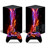 Xbox Series X Stickers Full Body Vinyl Skin Decal Protective Cover for Microsoft Xbox Series X Console and Controllers (Colorful fire)