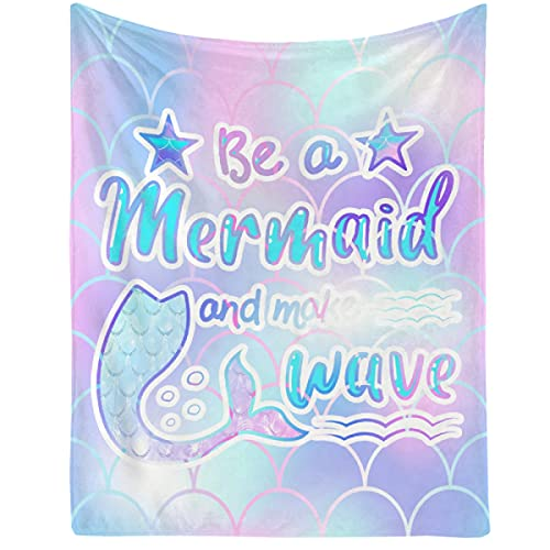 Blanket Be A Mermaid and Make Waves Lightweight Throws Soft Air Conditioner Quilt Microplush Flannel Blankets Gift for Christmas Halloween Birthday 80'x60' Queen for Women Men