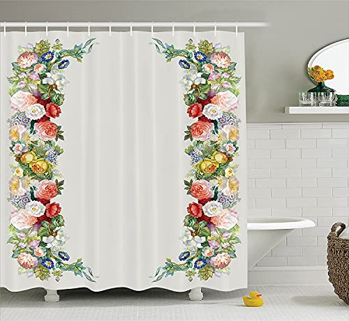 lovedomi Victorian Shower Curtain with Pastel Shades of Rose Garland Jasmine Cornflower Bouquet Classic Blooming Graphic Shower Curtain Spring Natural Scenery Bathroom Accessory Set 72x72 inches