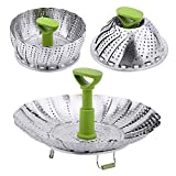 Vegetable Steamer Basket - Stainless Steel Collapsible Steamer Insert for Steaming Veggie Fish...