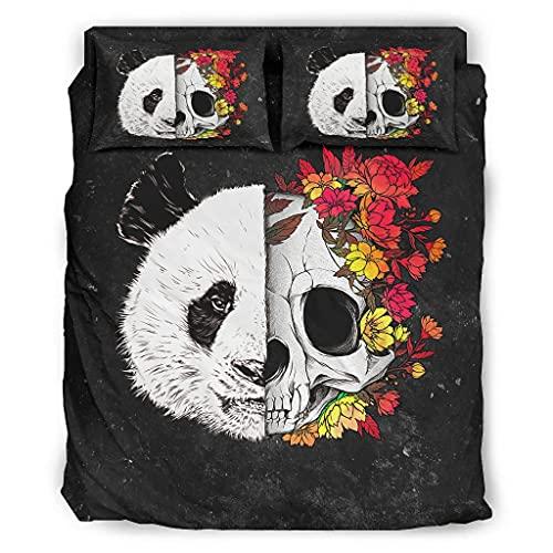DOGCATPIG Ropa de cama para todas las estaciones de la temporada Panda Skull Flower Soft Juego de edredón de 4 piezas para amigos blanco 175 x 218 cm