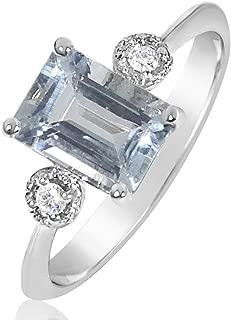 ∞ Anillo Mujer Compromiso Oro y Diamantes - Oro Blanco 9 Kt 375 ∞ Diamantes 0.03 Kt - Aguamarina 1 Kt