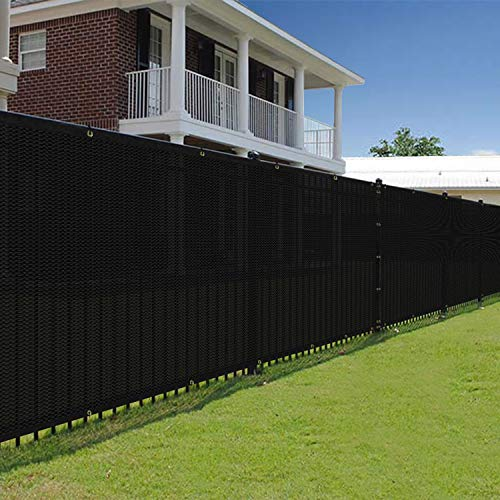 E&K Sunrise 5' x 10' Black Fence Privacy Screen, Commercial Outdoor Backyard Shade Windscreen Mesh Fabric 3 Years Warranty (Customized Set of 1