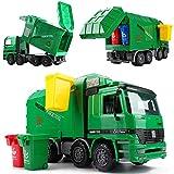 deAO Camión Contenedor con Función Hidráulica para Elevar y Vaciar Contenedores de Reciclaje Incluidos Vehículo y 3 Contenedores Variados Camión de la Basura