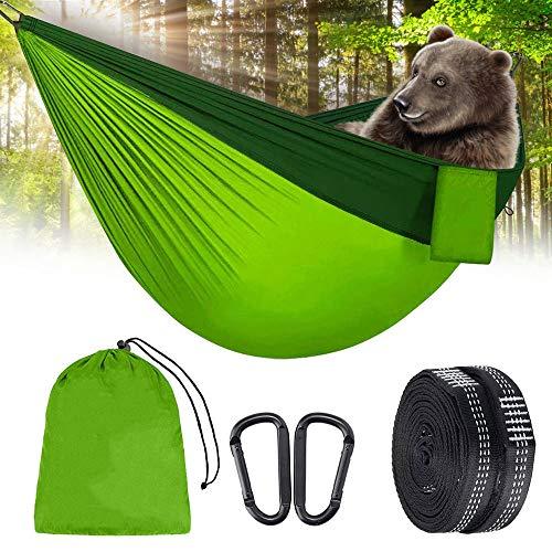 Eyscoco Hamaca al aire libre, 275 x 140 cm, hamaca para camping, transpirable, hamaca de viaje, hamaca de secado rápido, para exterior, camping, jardín y playa, verde