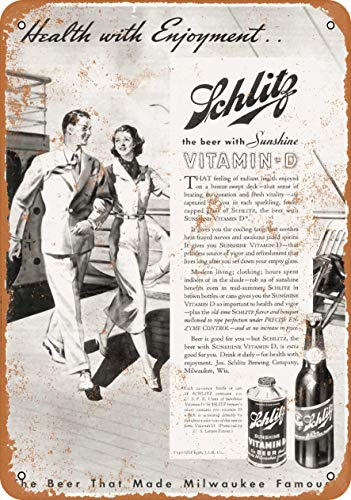 AMELIA SHARPE Vintage Retro Collectible tin Sign - 1936 Schlitz Beer with Vitamin D -Wall Decoration 12x8 inch Poster Home bar Restaurant Garage Cafe Art Metal Sign Gift