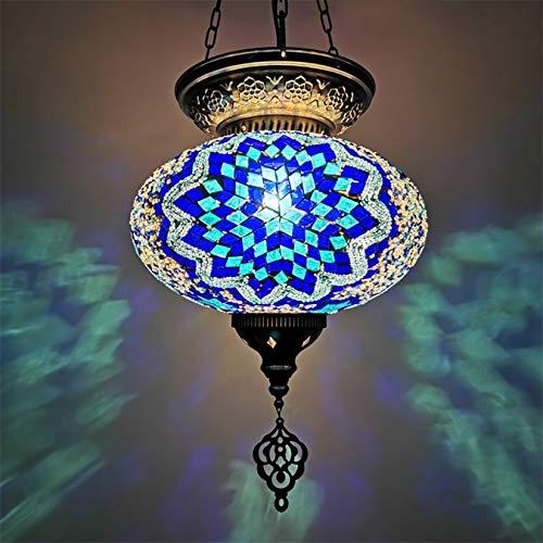 AIBOTY Mosaico Luces Pendientes clásicos turcos de 10 Pulgadas Hecha a Mano marroquí lámpara de Techo de Cristal de Colores primarios con E14 Bombilla LED Que cuelga Luces de la Sala de Estar,
