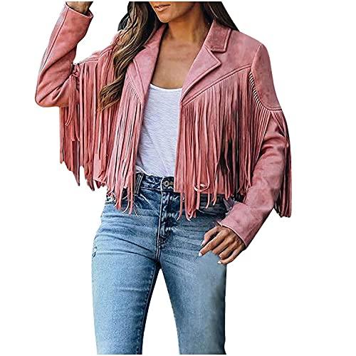 BIBOKAOKE Veste décontractée à franges pour femme - Courte veste de motard à revers - Manches longues - Veste légère - Business - Automne - Printemps - Streetwear