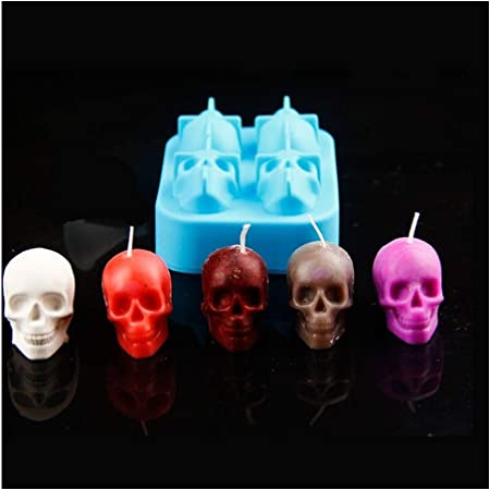 Handmade Candle Molds Soap Mould DIY Craft Resin Wax Mould for Stylish Room Table Decoration for Halloween Party 3D Halloween Skull Candle Moulds