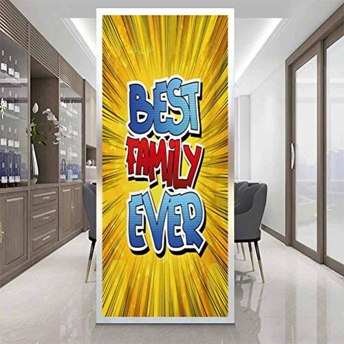 Window Privacy Film, Family Comic Book Style Best Family Ever Words on Abstr, Home Window Tint Film Heat Control, W23.6 x H47.2 Inch