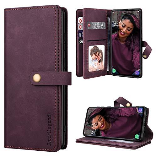 SmartLegend Handyhülle für Samsung Galaxy A71 Hülle Premium Leder PU mit 10 Kartenfach Flip Hülle Magnet Klapphülle Silikon Bumper Schutzhülle für Samsung Galaxy A71 Tasche - Wein Rot