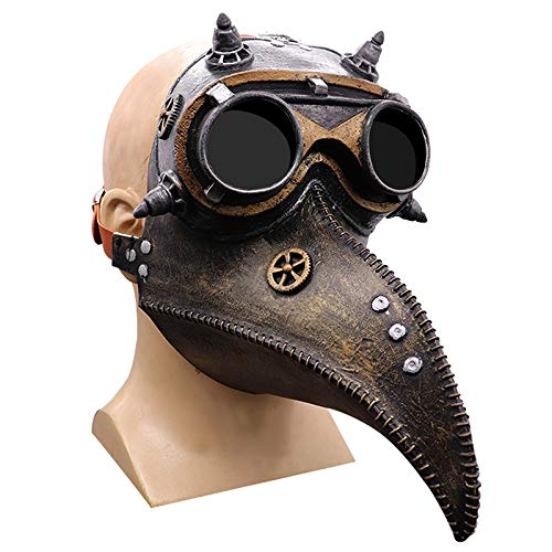 Eighty Plague Doctor Mask- Gold Bird Beak Steampunk Gas Costume-Long Nose Bird Beak Steampunk Halloween Costume Props Mask-Plague Doctor Bird Mask steampunk buy now online