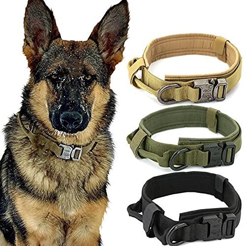 Tactical - Collar de nailon para perro con hebilla de metal y almohadilla para perros medianos y medianos