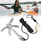 BUZIFU Kit de Ancla de 1,5 kg con Mosquetón, Boya Blanca y Cuerda Nylon de 10 m, Ancla Kayak Plegable de Acero al Carbono para Fondear Tablas,...