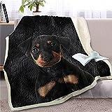 Manta de Tiro de Perro Negro Rottweiler para Cama, Manta de vellón Sherpa Suave, Ropa de Cama para Animales, colchas de Felpa 3D para Cachorros, 150 * 200Cm