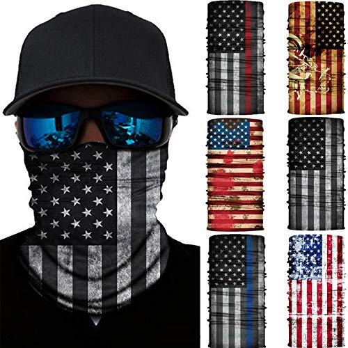 6 Pcs Bandana Face Mask Neck Gaiter, Scarf Headbands Balaclava Headwear Tube Windproof Seamless Face Cover