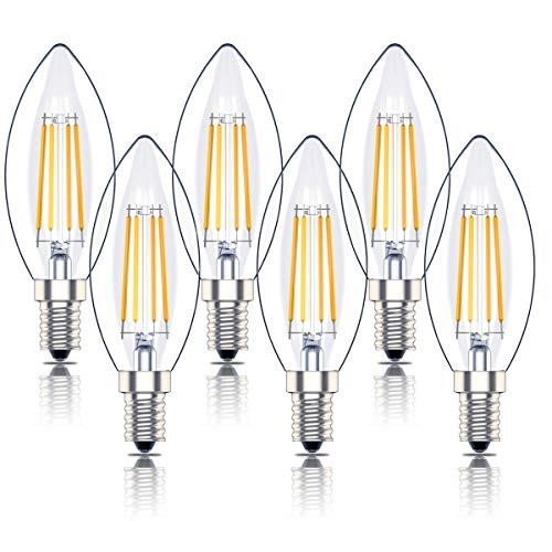 Phoenix-E14 Led Dimmbar Warmweiss kerze, Glühbirne Kerzenform, Birne Filament Retrofit Classic,4W Ersetzt 40Watt Lampe, Warmweiß(2700K),6er-Pack
