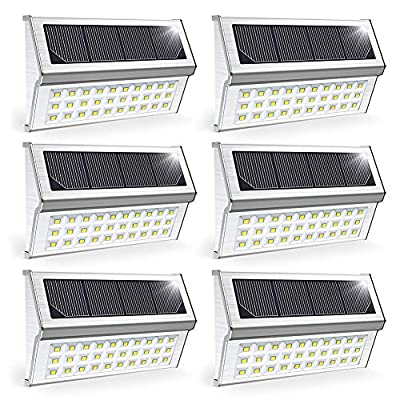 Solar Deck Light, OSORD Solar Step Light Waterproof Bright White 6 LED Stair Outdoor Walkway Lighting Stainless Steel Auto On/Off for Steps Stairs Decks Fences Paths Patio Pathway (8 Pack)