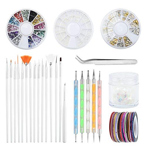 Vathery Nagel Design Zubehör, 15 Nail Art Pinsel Set, 5 Punktierung Stift, 30 Streifenband, Nagel Strass und Pinzette für Nagel Dekoration