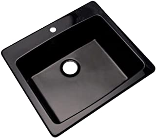 Mont Blanc Northbrook Drop-In Composite Granite 25x22x9 1-Hole Single Bowl Kitchen Sink in Black