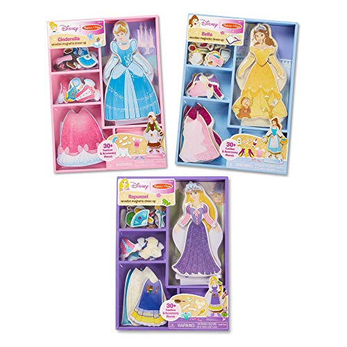Melissa & Doug Disney Cinderella, Belle, and Rapunzel Magnetic Dress-Up Wooden Dolls Pretend Play Set