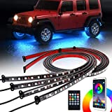 Car Underglow LED Lights, SUPAREE Exterior Car LED Strip Lights with Remote Control, 16 Million Colors Neon Accent Lights Kit for Car Truck Offroad Jeep Vehicle - 4Pcs