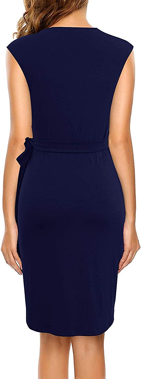 Berydress Women's Vintage V-Neck Sheath Casual Party Work Faux Black Wrap Dress