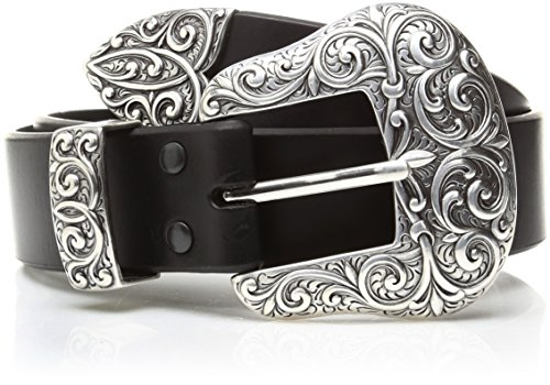 Ariat Women's Beveled Edge Silver Buckle Set Belt, black, Large