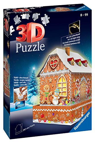 Ravensburger 11237 Christmas Gingerbread House Night Edition 216 Piece 3D Jigsaw Puzzle with LED Lighting for Kids Age 8 Years and up