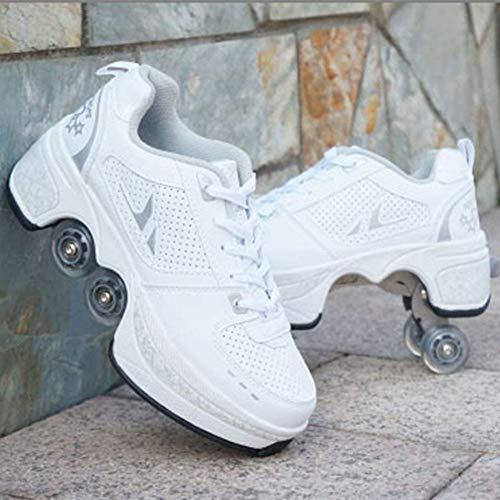 SNOWWOLF Flaschenzugschuhe Multifunktionale Verformungsrollschuhe Outdoor-Sportarten Inline-Skate Mehrzweckschuhe Verstellbare Quad-Rollschuh-Stiefel,Weiß,39