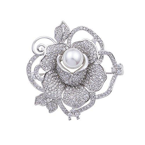 Yazilind Rose Blume eingelegten Zirkon Perle Luxus Brosche weiblichen Luxus Mantel Schal Pin Silber Kleidung Zubehör Farbe