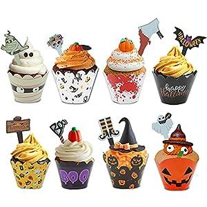jiuzcare Halloween Cupcake Toppers 96PCS Cupcake de Halloween Decoración Tarta Halloween Fiesta Cupcake Topper de Tarta para Halloween Cupcake Wrappers DIY Calabaza, Bruja, Decoración de Murciélagos